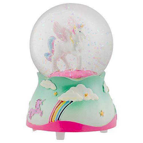 Elanze Designs Flying Rainbow Unicorn 80MM Musical Water Globe Plays Tune The Unicorn