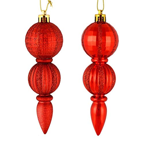 Vickerman 544297-5″ Red Glitter/Matte Finial Christmas Tree Ornament (set of 6) (M183603)