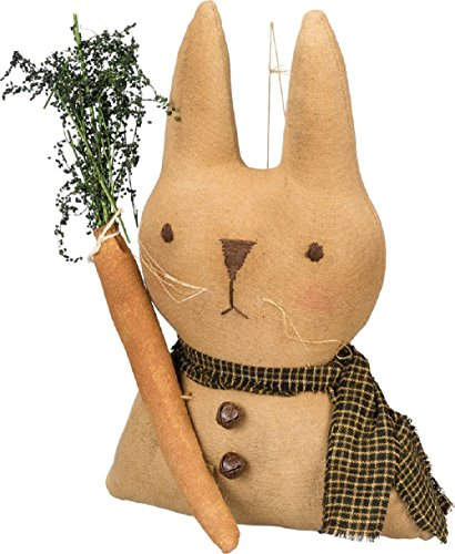 Primitives by Kathy Bunny With Carrot 5 Inches x 8 Inches x 2.50 Inches Decorative Hanging Ornaments