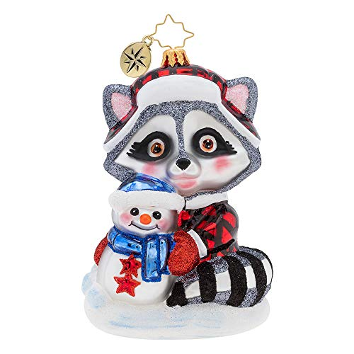 Christopher Radko Hand-Crafted European Glass Christmas Decorative Figural Ornament, Rambunctious Racoon