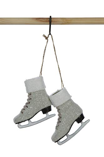 Creative Co-op Plastic Ice Skates Glitter Ornament, 5″, White