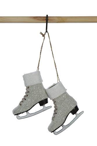 Creative Co-op Plastic Ice Skates Glitter Ornament, 5″, White