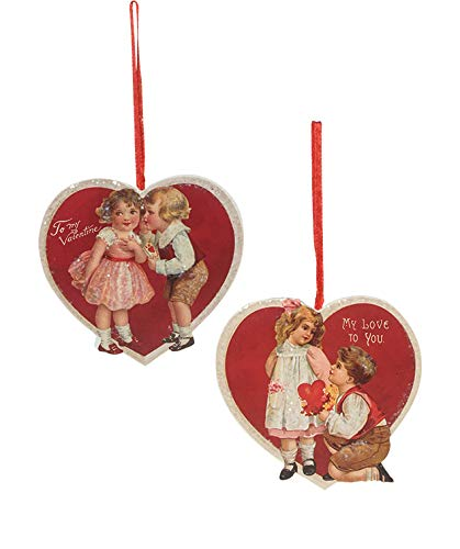 Bethany Lowe Valentines Day Children Heart Ornament Set of 2
