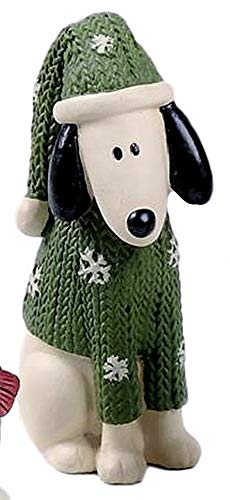 Blossom Bucket White & Black Puppy Dog in Green Snowflake Sweater & Hat Resin Figurine #2
