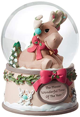 Precious Moments Moose Wonderful Time of The Year 1st Annual Resin and Glass Musical Snow Globe 191102 Waterball, One Size, Multi