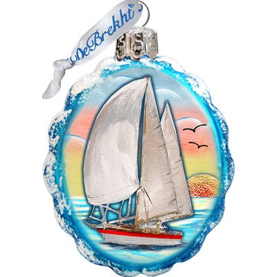 G. Debrekht Flower Sailboat Coastal Glass Ornament