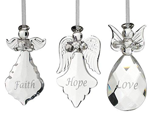 BANBERRY DESIGNS Faith Hope Love Angel Ornaments – Set of 3 Crystal Hanging Angels – Faith Hope Love Written on Each Ornament in Silver – Angel Christmas Tree Decorations