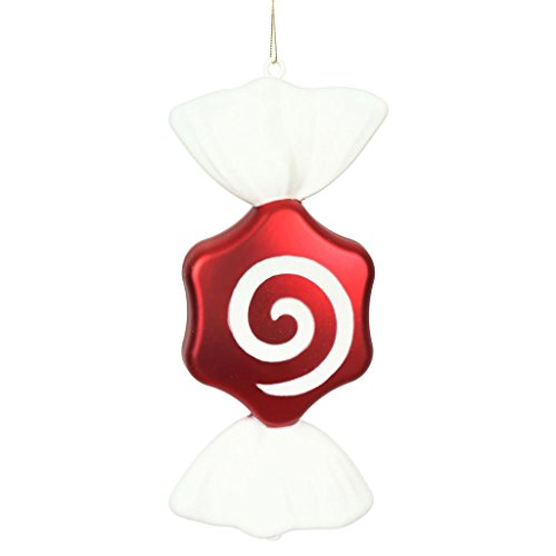 Vickerman 511046-12 Red-White Hexagon Swirl Candy Christmas Tree Ornament (2 Pack) (N179372)