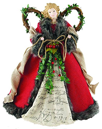 Santa's Workshop 3096 Homespun Angel Tree Topper, 16″, Red