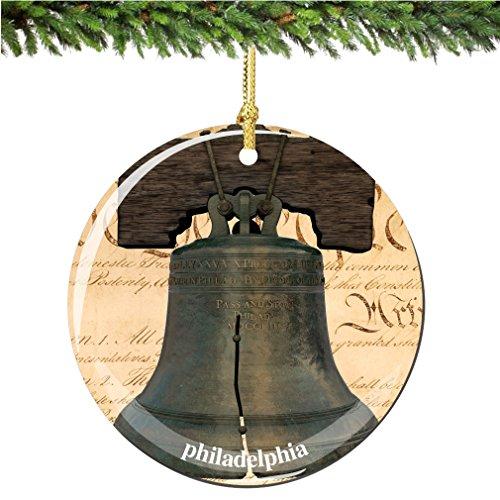 City-Souvenirs Philadelphia Liberty Bell Christmas Ornament, Philadelphia Porcelain 2.75″ Double Sided Liberty Bell Christmas Ornaments