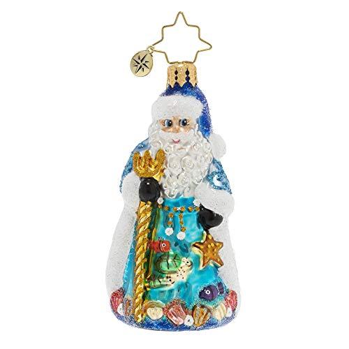 Christopher Radko Hand-Crafted European Glass Christmas Ornament, Seas The Day Santa Gem