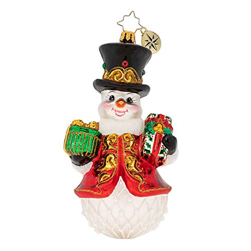 Christopher Radko Hand-Crafted European Glass Christmas Decorative Figural Ornament, Royal Gift Giving Snowman!