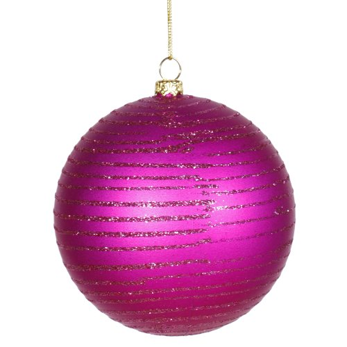 Vickerman Cerise Pink Glitter Striped Shatterproof Christmas Ball Ornament 4″ (100mm)