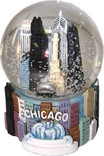 Chicago Illinois Colorful Snow Globe Snow Dome – 65 mm