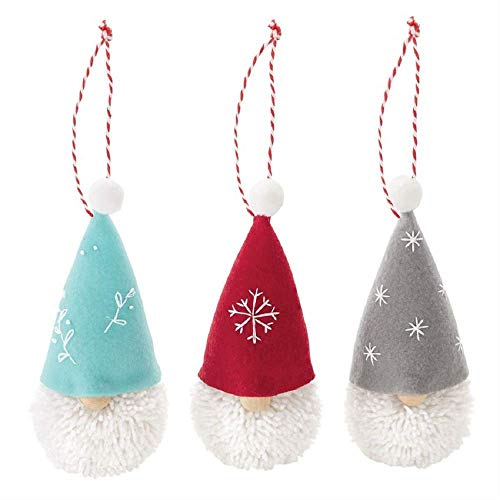 Mud Pie Home Oh So Jolly Decor 6.75″ H Yarn Pom Pom Gnome Ornaments (3piece Set)