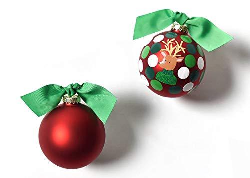 Coton Colors 100 MM Jingle Reindeer Glass Ornament