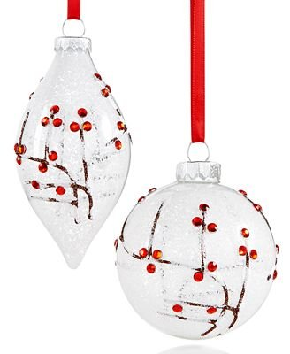 Holiday Lane Set of 2 Snowy Red Berry Ornaments