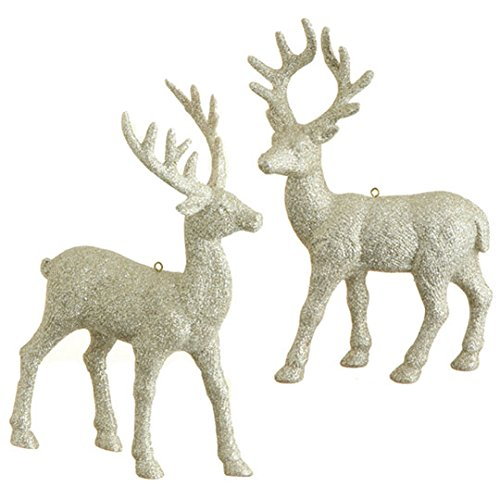 RAZ Imports – 8.5″ Glittered Deer Ornaments – Set of 2