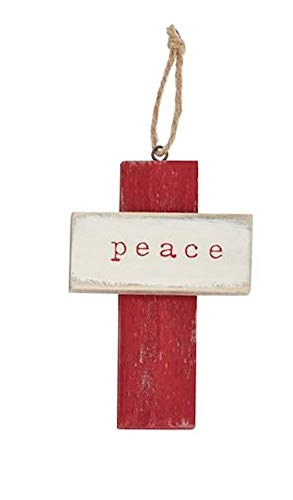 Mud Pie Peace Wood Cross Ornament