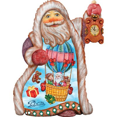 G. Debrekht Balloon Ride Santa Ornament, 5″