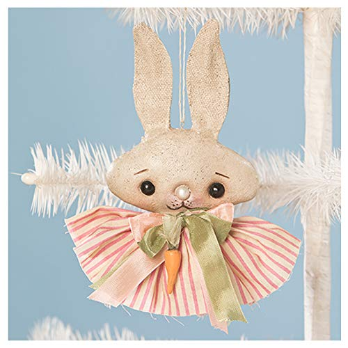 Bethany Lowe 6″ Spring Fling Easter Bunny Girl Party Retro Vintage Style Decor Ornament