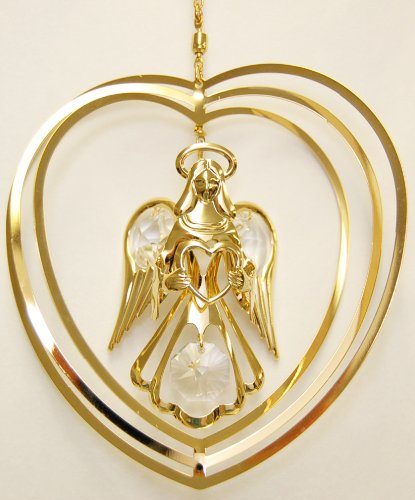 24K Gold Plated Hanging Sun Catcher or Ornament….. Guardian Angel Holding a Heart in a Heart with Clear Swarovski Austrian Crystal