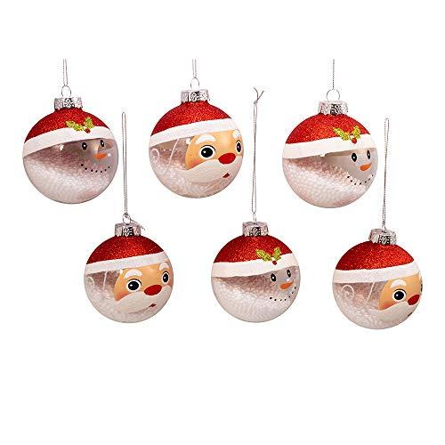 Kurt Adler Kurt S. Adler 80MM Clear and White Santa and Snowman Glass Ball, 6 Piece Box Ornament, Multi