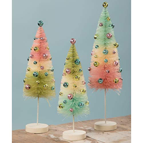 Bethany Lowe Easter Pastel Bottle Brush Trees 8.5″ – 11″ Tall Ball Ornament – Set of 3
