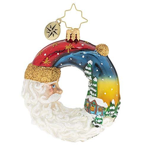 Christopher Radko Hand-Crafted European Glass Christmas Ornament, Santa's Silent Night Wreath Gem