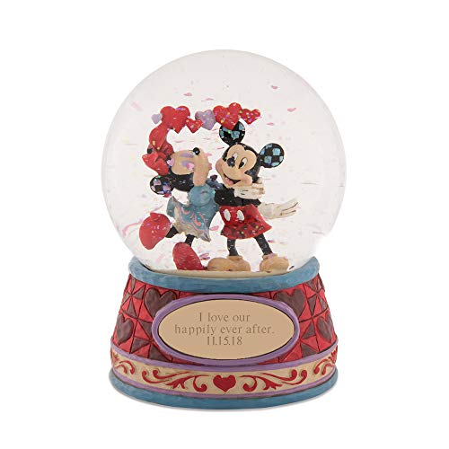 Things Remembered Personalized Jim Shore Mickey and Minnie Hearts Snow Globe with Engraving Included