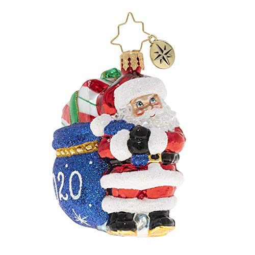 Christopher Radko Hand-Crafted European Glass Christmas Ornament, Santa's 2020 Delivery Gem