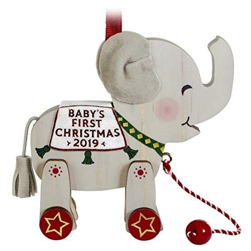 Hallmark Keepsake Ornament 2019 Year Dated Baby's First Christmas Elephant Pull Toy, Wood