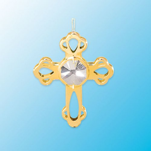 Mini Cross Hanging Sun Catcher or Ornament….. With Clear Swarovski Austrian Crystals