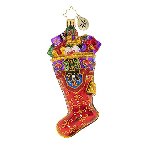 Christopher Radko Hand-Crafted European Glass Christmas Ornament, A Stocking Stuffed with Care