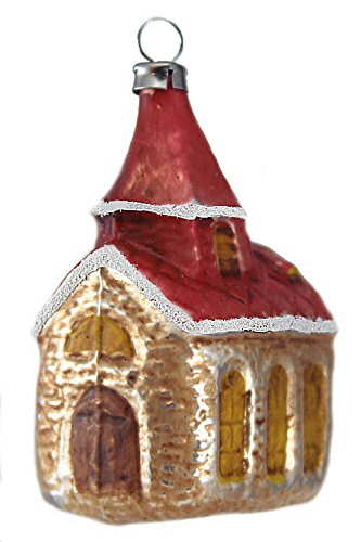 Marolin Church with Red Roof MA2011015 German Glass Ornament w/Gift Box