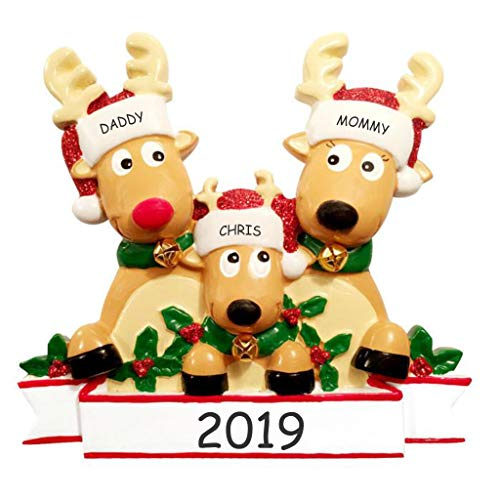 DIBSIES Personalization Station Personalized Cozy Reindeer Family Christmas Ornament (Reindeer Family of 3)