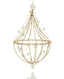 Holiday Lane Gold-Tone Chandelier Ornament with Pearls