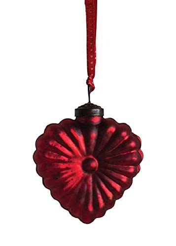 Creative Co-op Floral Heart Mercury Glass Hanging Ornament