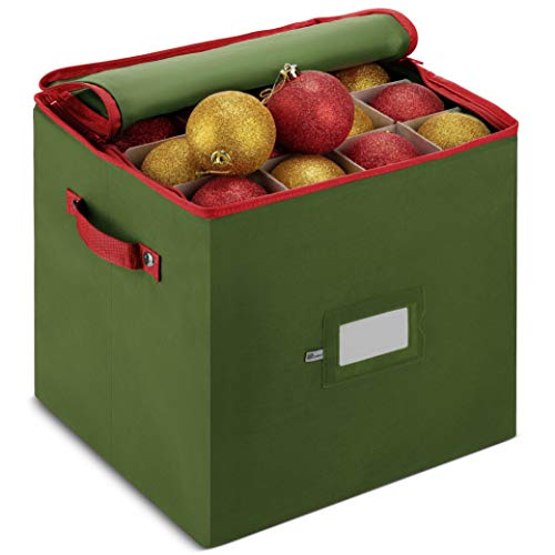 Christmas Ornament Storage Box With Lid – Protect and Keeps Safe Up To 64 Holiday Ornaments & Xmas Decorations Accessories, Durable Non-Woven Ornament Storage Container, 3″ Compartments & Two Handles