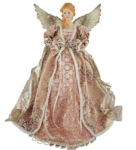 Santa's Workshop Angel Tree Topper, 16″ Tall, Mauve/Silver