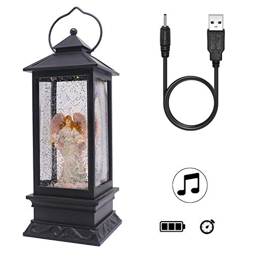 Wondise Lighted Musical Snow Globe Lantern with 6 Hour Timer, 12 Inches USB Powered & Battery Operated Swirling Water Glitter Christmas Snow Globe Lantern Gifts(Angel)