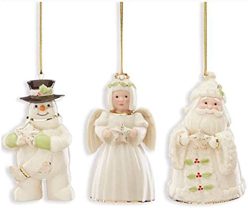 Lenox Holiday Cheer 3-Piece Set Ornaments Snowman, Santa and Angel