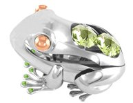 Chrome Plated Frog Free Standing with Swarovski Element Crystal For All Occasions
