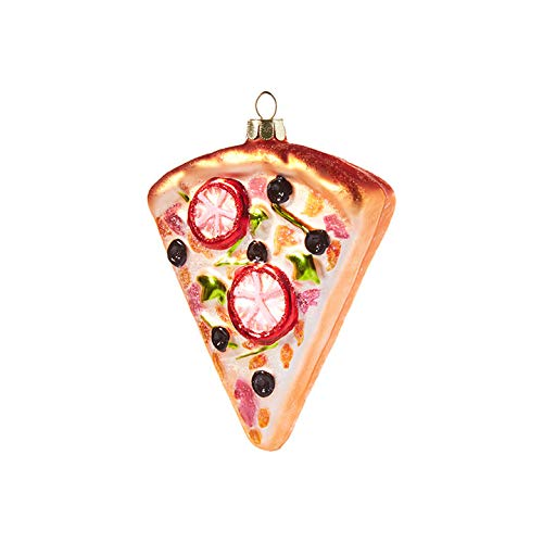 Raz imports Seasonal Glitter Pizza 4 inch Glass Decorative Christmas Ornament