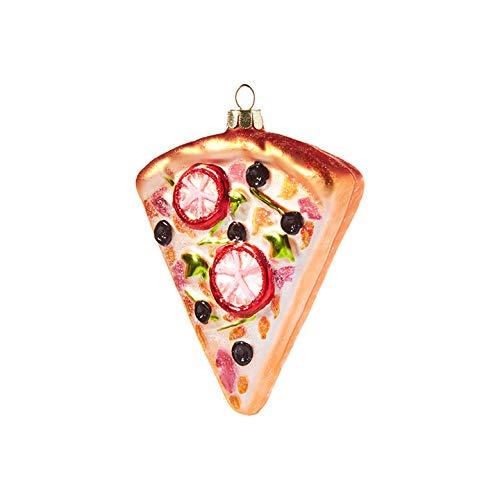 Raz imports Seasonal Glitter Pizza 4 inch Glass Decorative Christmas Ornament