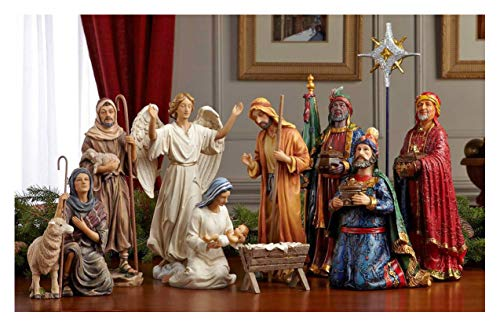 Set of 11 Nativity Figurines with Real Gold, Frankincense and Myrrh – 10 inch Scale
