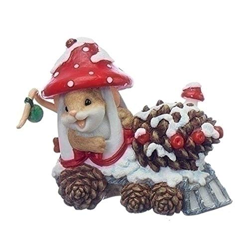 Roman – 4″MOUSE IN MUSHROOM TRAIN ALL ABOARD THE PINE CONE EXPRE
