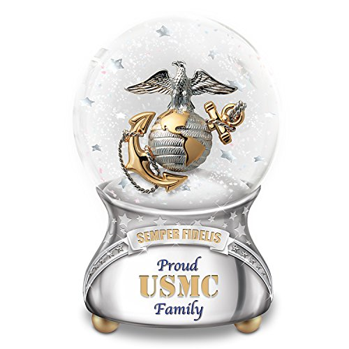 The Bradford Exchange USMC Proud Family Musical Glitter Globe with Marines' Hymn Melody and Poem Card
