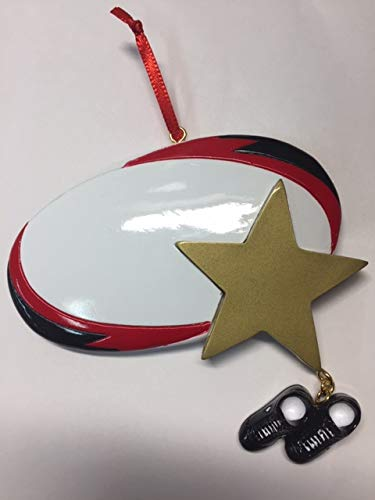 Rudolph and Me Rugby Star Personalized Christmas Ornament, Sport Ornaments