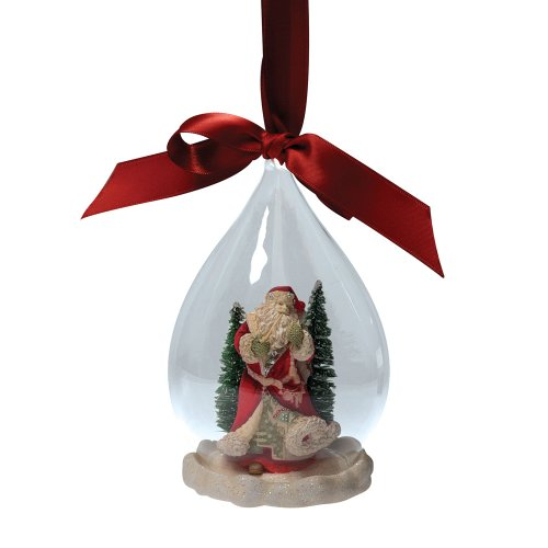 Enesco Heart of Christmas Santa Scene Glass Ornament, 5-1/2-Inch
